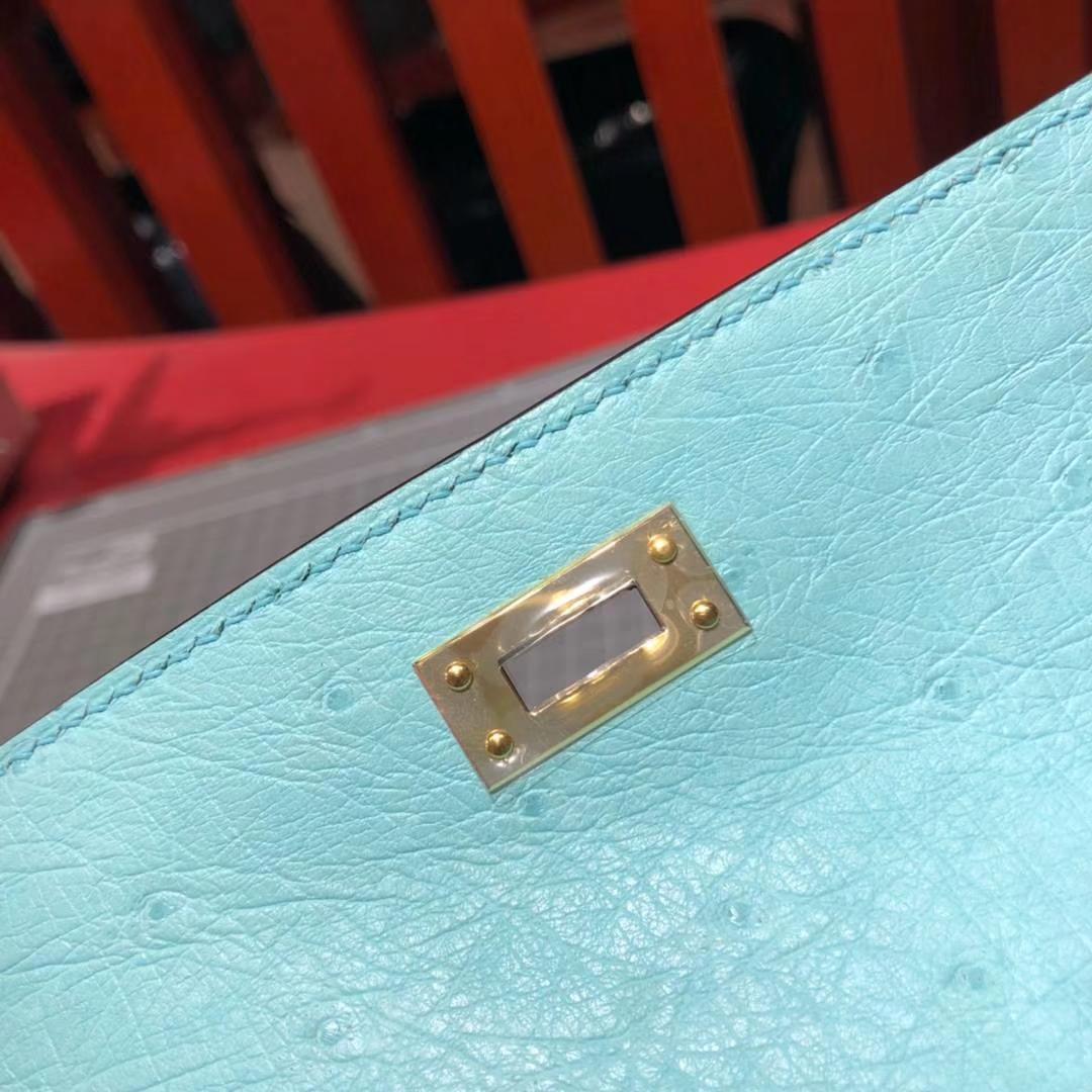 顶级工艺 Hermes爱马仕原厂鸵鸟皮Minikelly迷你凯莉包22cm 3P马卡龙蓝 金扣