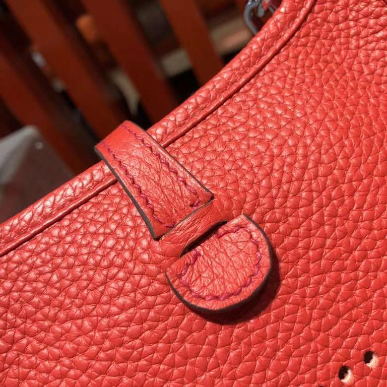 爱马仕新款女包 Hermes Evelyne16CM S5番茄红伊芙林包 银扣
