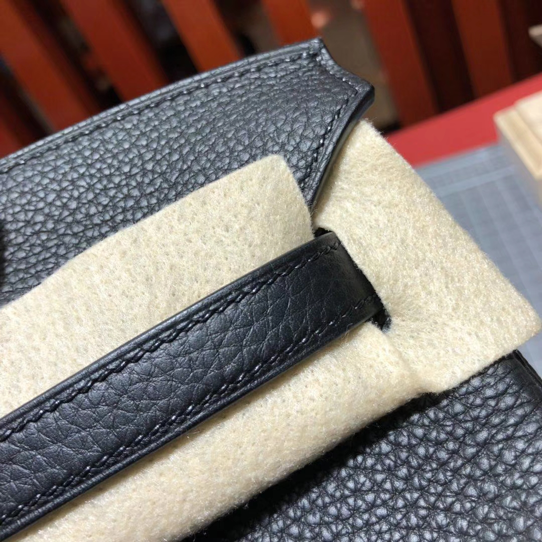 Hermes包包价格 爱马仕89黑色原厂Togo牛皮铂金包Birkin25CM 银扣