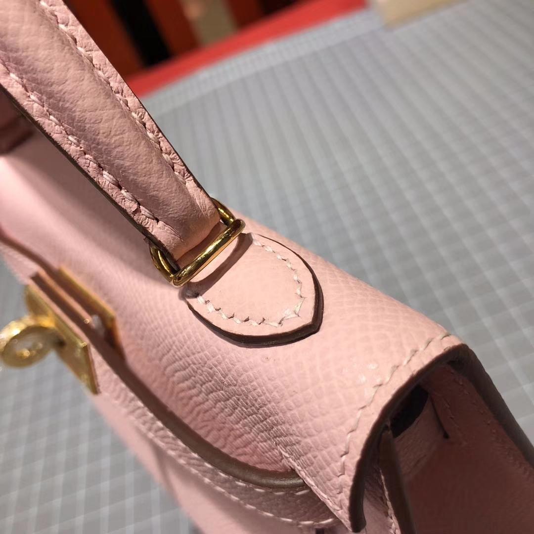 爱马仕迷你凯莉包2代 Hermes Minikelly-2 3Q粉色Epsom牛皮 金扣