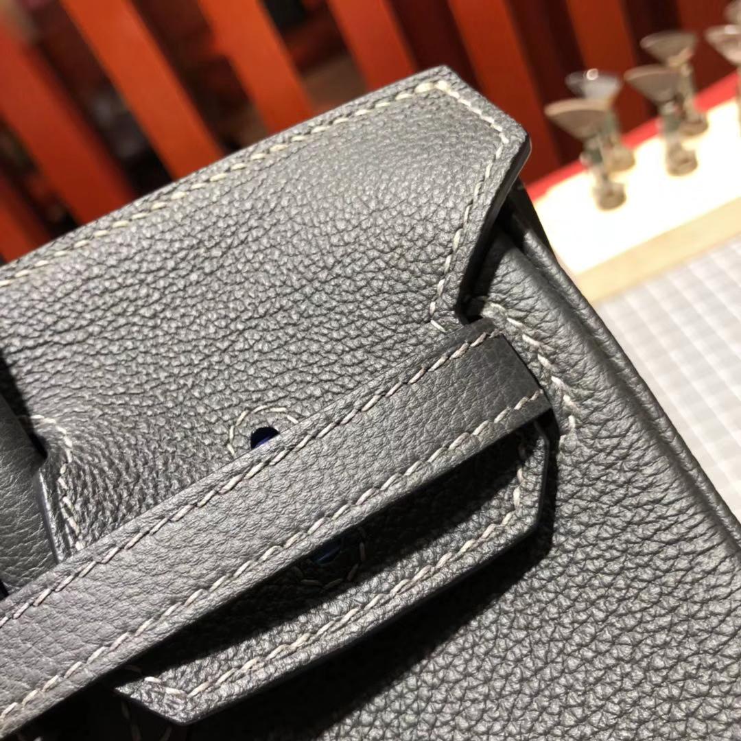 爱马仕铂金包价格 Hermes Birkin25CM 石墨灰原厂Togo牛皮 金扣