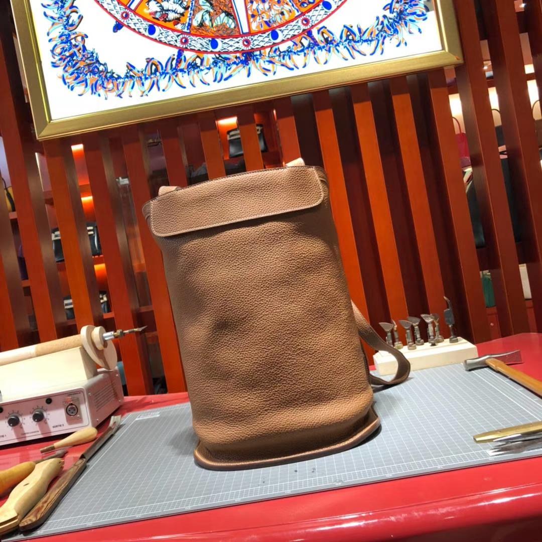 爱马仕双肩包 Hermes土黄色顶级TC牛皮蜡线缝制背包新款包包