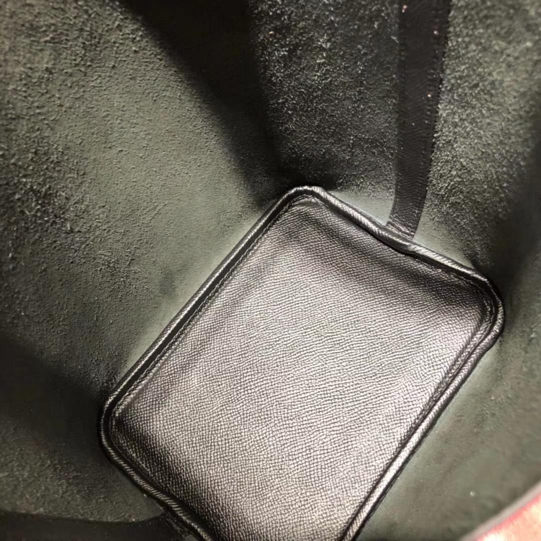 爱马仕限量版编织手柄菜篮子包 Hermes Picotin18CM 黑色Epsom牛皮