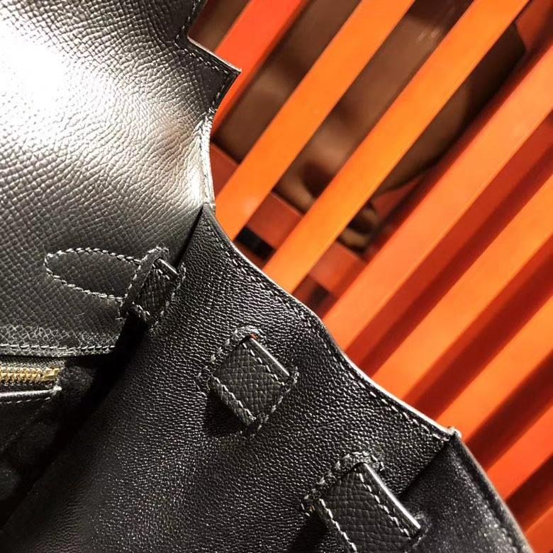 爱马仕新款凯莉包 Hermes Kelly28cm 89黑色Epsom皮配限量款肩带