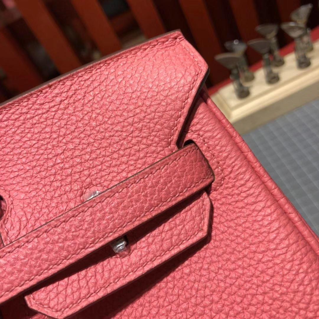 厂家直销 Hermes爱马仕8W唇膏粉原厂Togo牛皮铂金包Birkin25CM 金扣