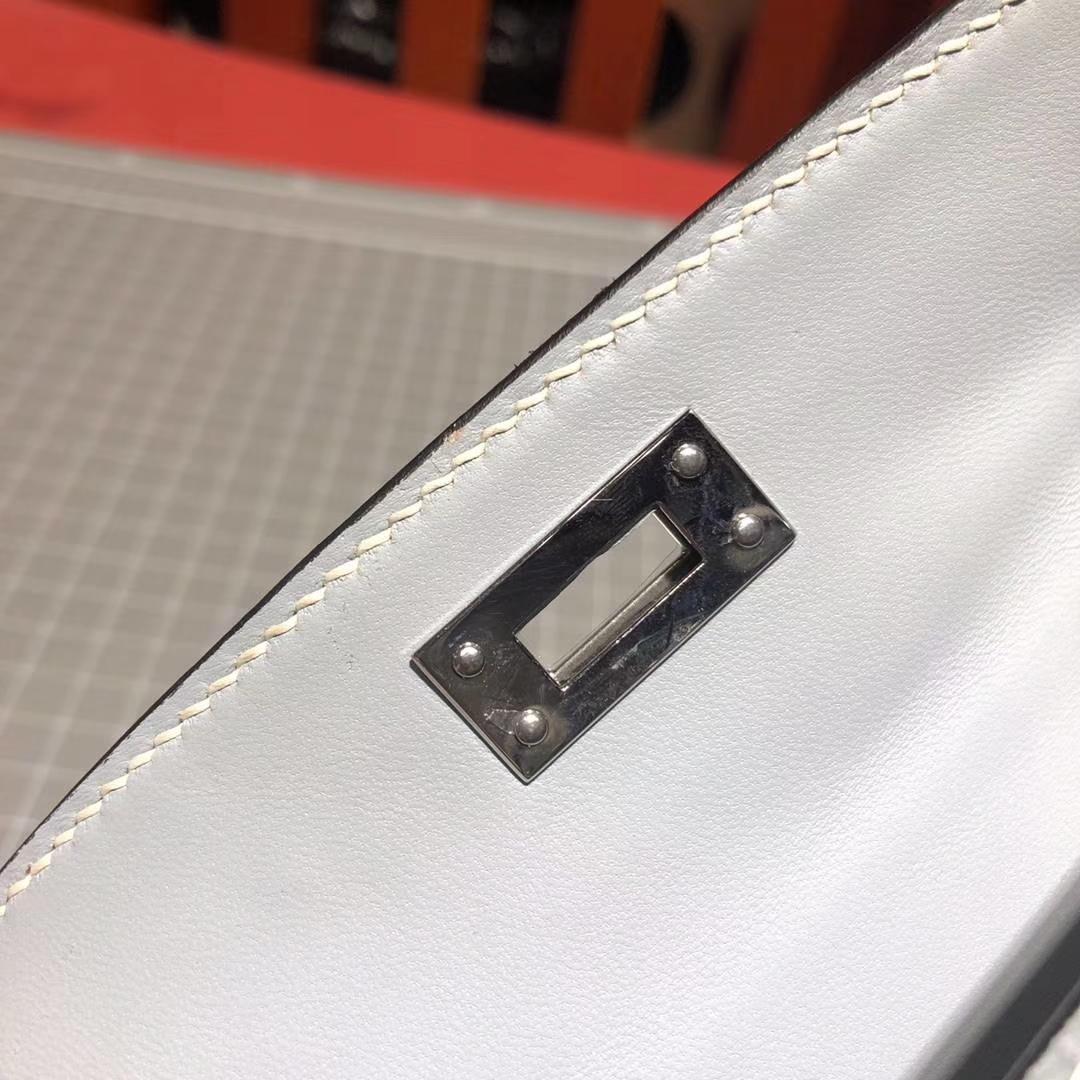 爱马仕迷你凯莉包2代 Hermes冰川蓝原厂Epsom牛皮Minikelly2代 银扣