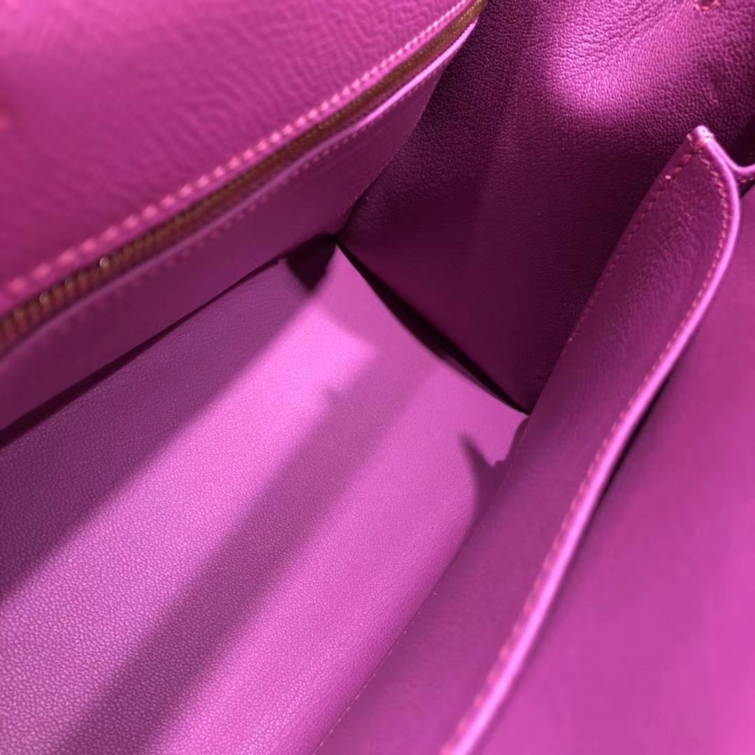 爱马仕凯莉包尺寸 Hermes Kelly25CM 玉兰紫原厂Epsom牛皮 金扣