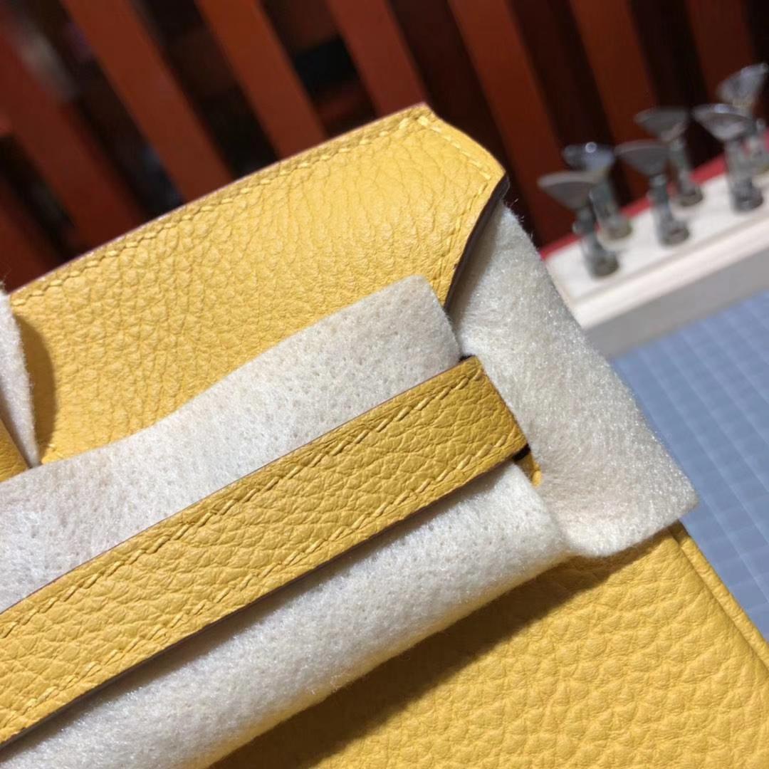 爱马仕Birkin包包 Hermes原厂Togo牛皮铂金包25CM 9D琥珀黄 银扣
