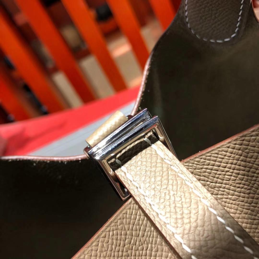 爱马仕菜篮子包 Hermes Picotin18CM 大象灰Epsom牛皮 限量版编织手柄