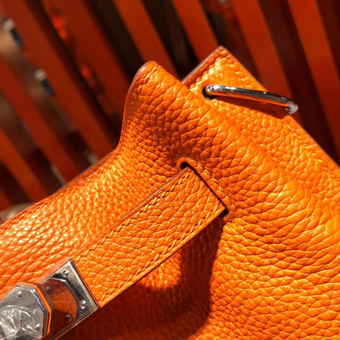 Hermes新款单肩包 爱马仕So Kelly水桶包 橙色顶级TC牛皮 银扣