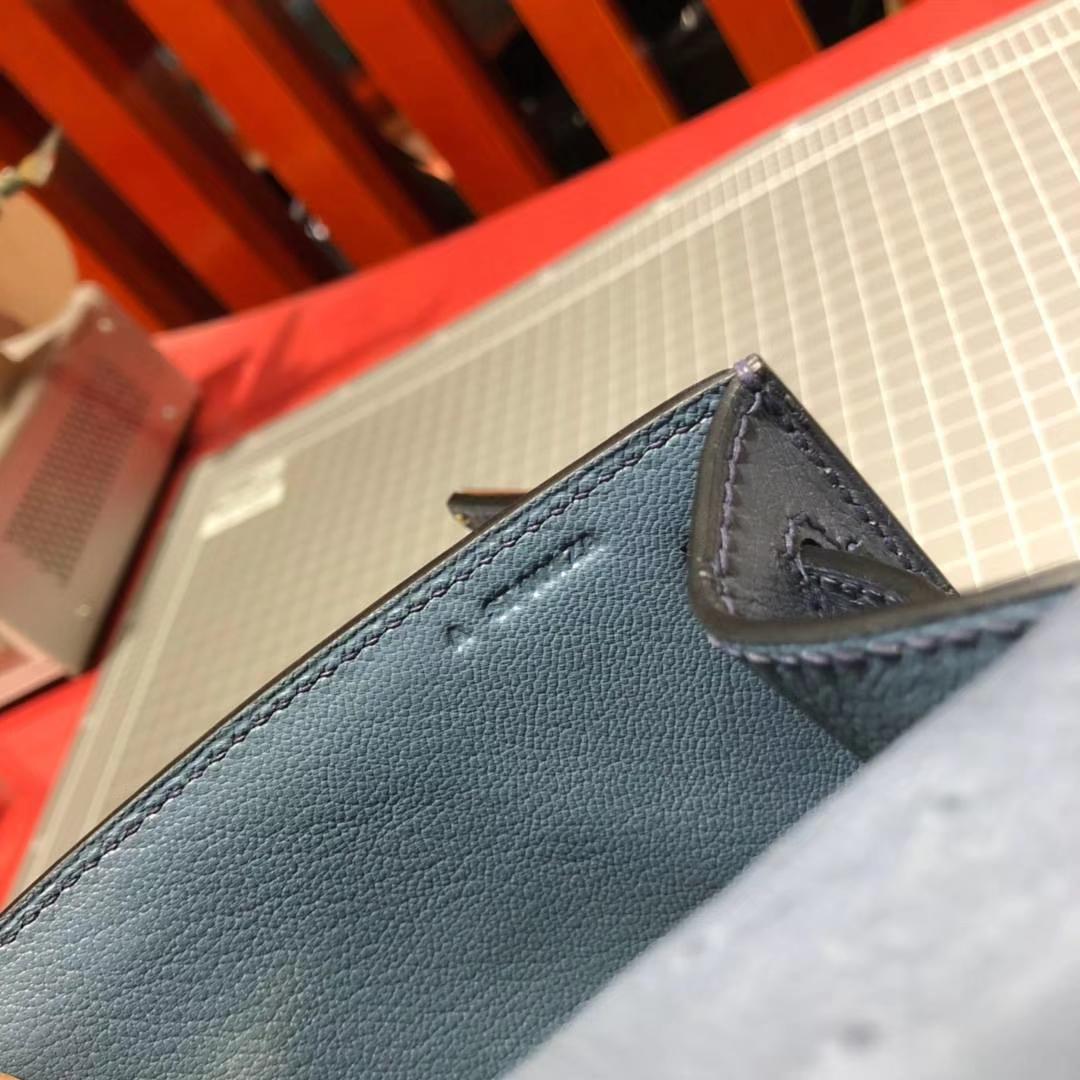 爱马仕Minikelly手包  Hermes风暴蓝顶级鸵鸟皮迷你凯莉包22cm 金扣
