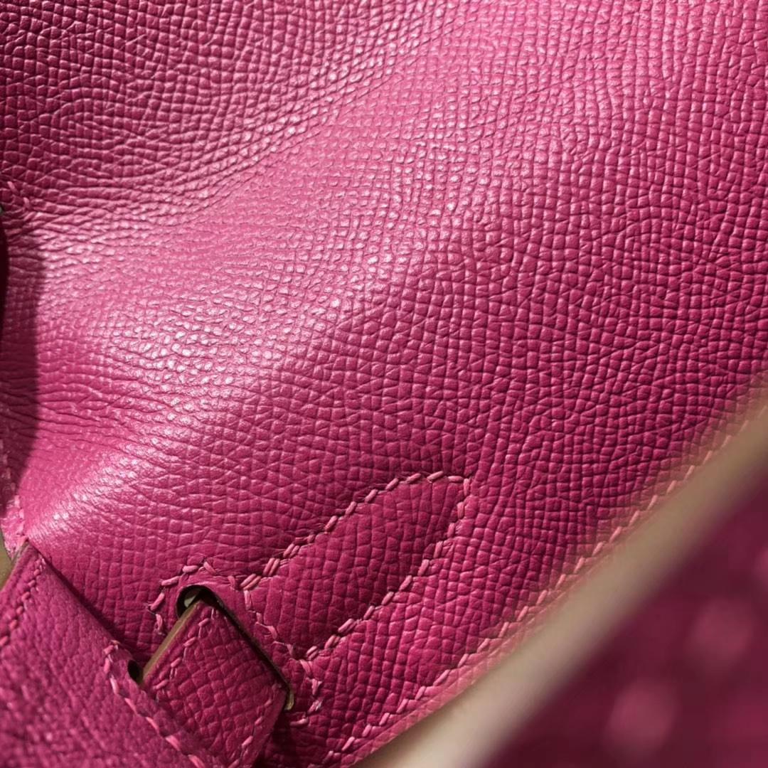 爱马仕Kelly包包 Hermes玫瑰紫原厂Epsom牛皮凯莉包Kelly28CM 金扣