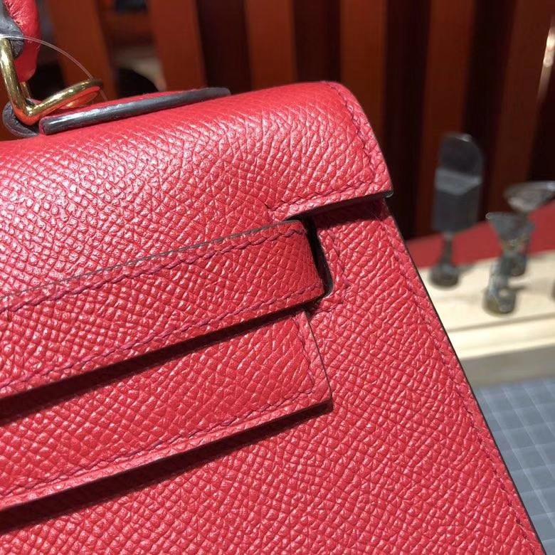 爱马仕凯莉包 Hermes Kelly25CM Q5国旗红Epsom皮 配新款Tressage Cuir肩带