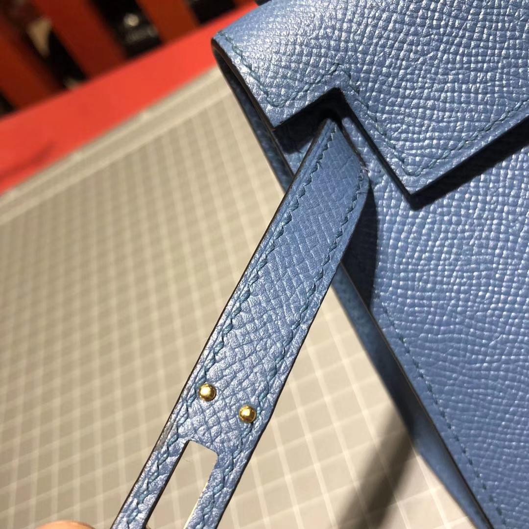 Hermes Minikelly2代 爱马仕玛瑙蓝顶级掌纹牛皮迷你凯莉包2代 金扣