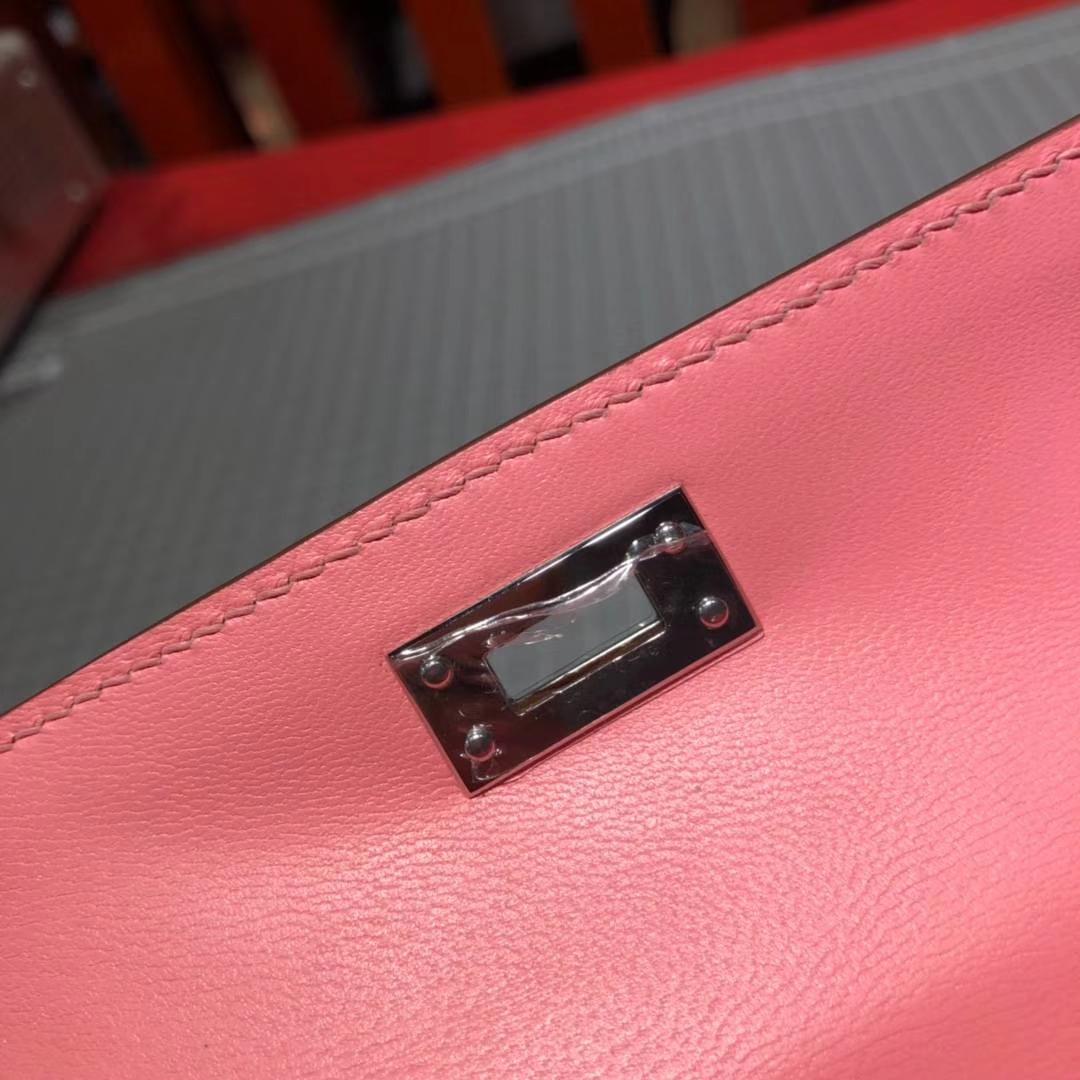爱马仕包包官网 Hermes Minikelly2代 奶昔粉色顶级Epsom牛皮迷你凯莉包 银扣