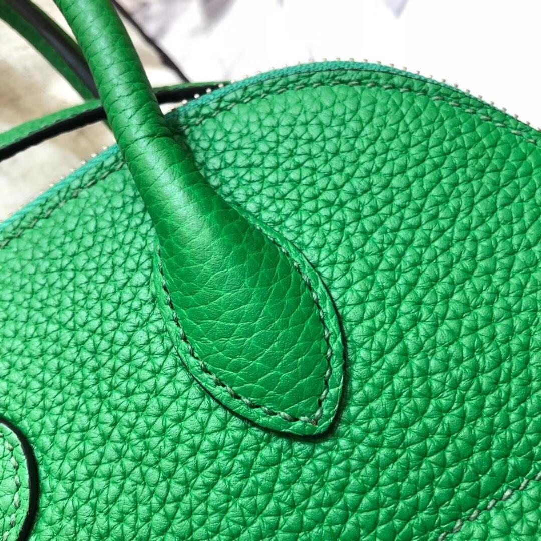 爱马仕保龄球包 Hermes竹子绿顶级Togo牛皮Bolide女包手提包27CM