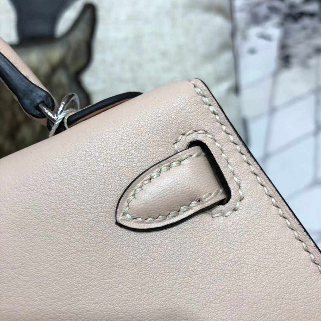 爱马仕Minikelly包包 Hermes蔷薇粉原厂Swift牛皮迷你凯莉包2代 银扣