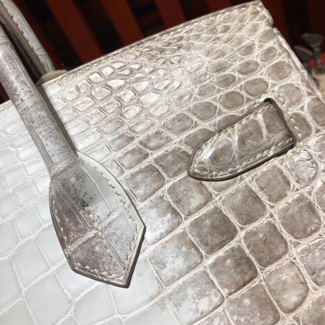 Hermes Birkin30CM 爱马仕喜马拉雅两点鳄鱼皮铂金包 银扣