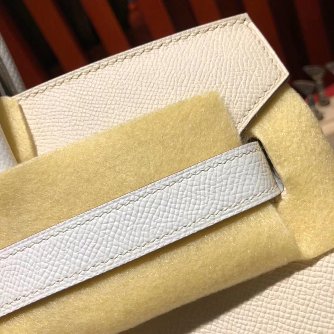 爱马仕拼色铂金包 Hermes奶昔白拼纯白色Epsom牛皮Birkin30CM 金扣
