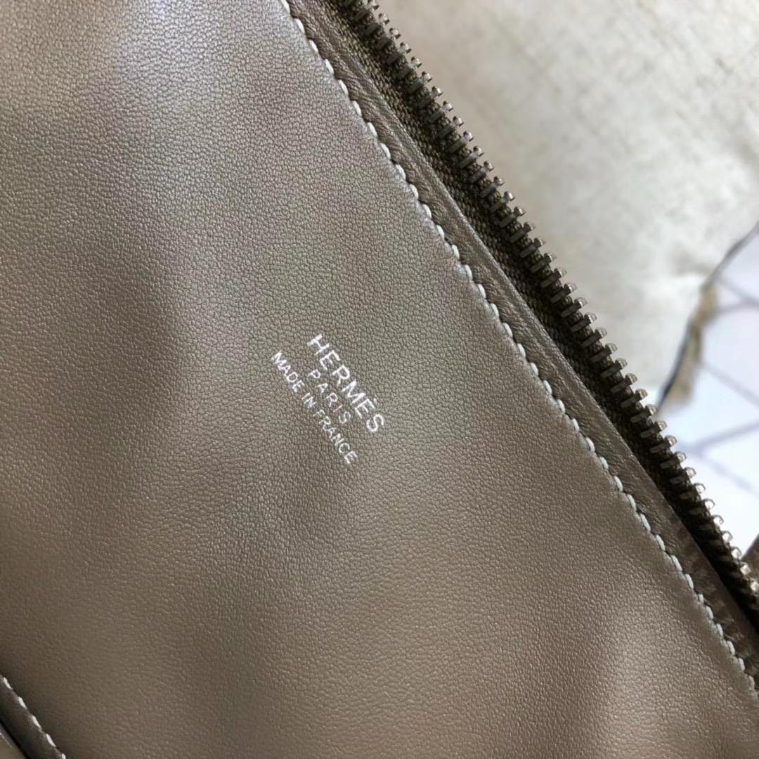 Hermes包包批发 爱马仕大象灰顶级Epsom牛皮保龄球包Bolide27CM 银扣