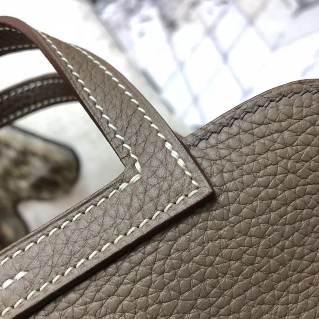 爱马仕新款包包 Hermes mini Halzan 大象灰TC牛皮手提斜挎两用包