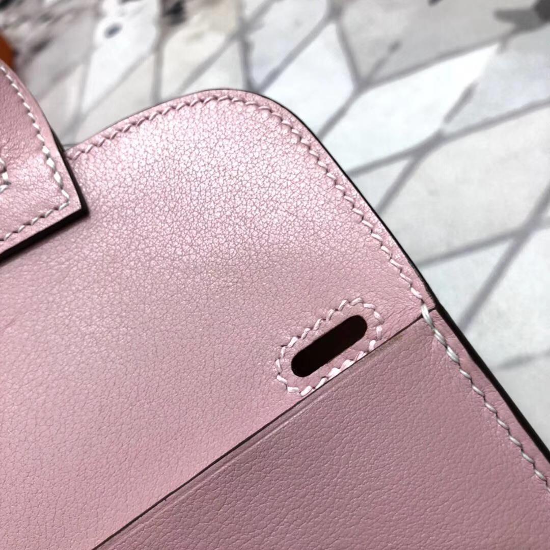 爱马仕肩背设计款 Hermes3Q粉色Swift牛皮 手提斜挎多用女包