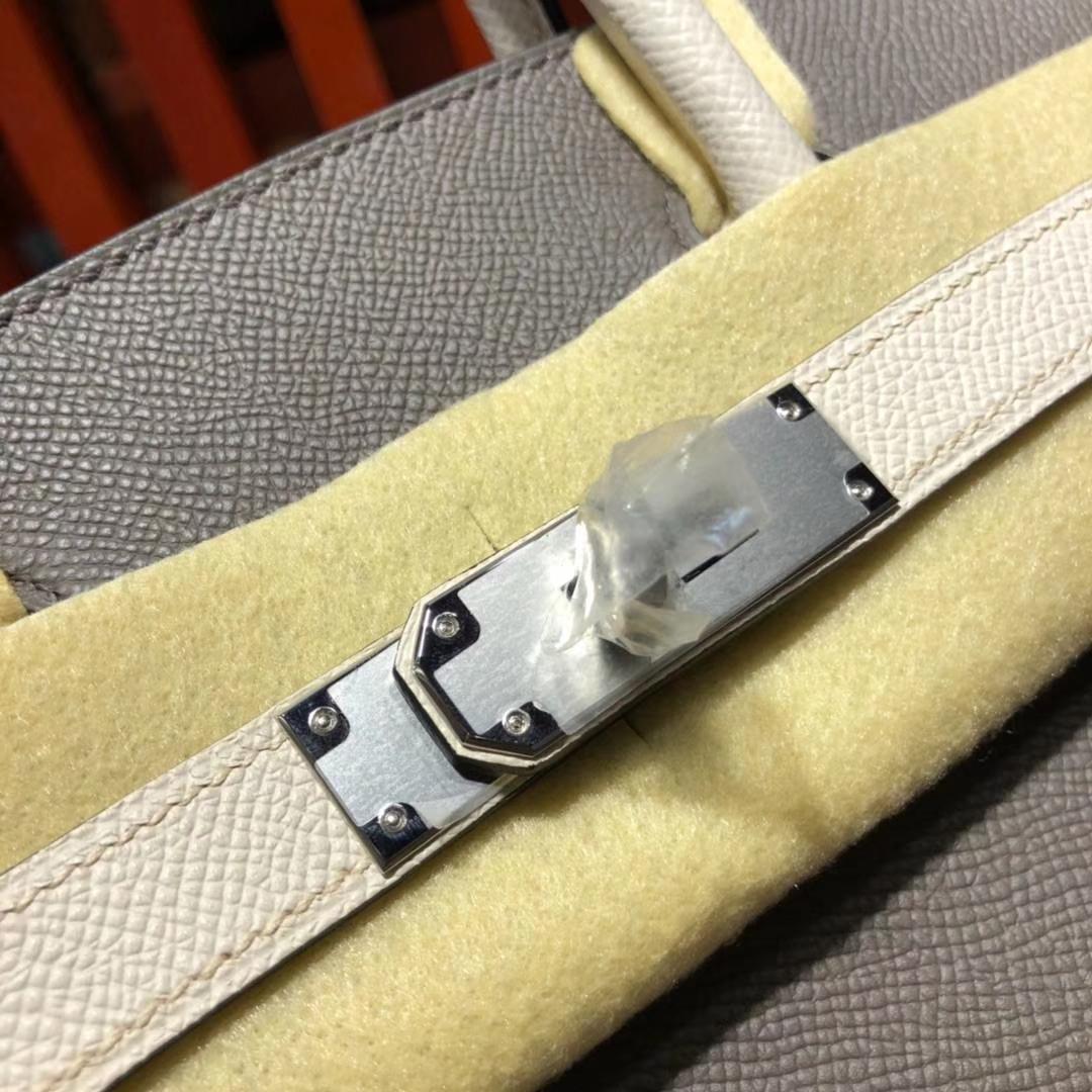 爱马仕铂金包价格 Hermes铁灰拼奶昔白原厂掌纹牛皮Birkin30CM 银扣