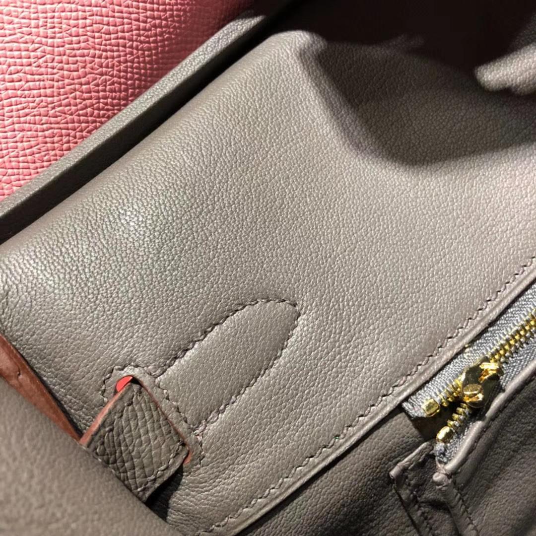 爱马仕拼色铂金包 Hermes Birkin30CM 奶昔粉拼铁灰色Epsom牛皮 金扣