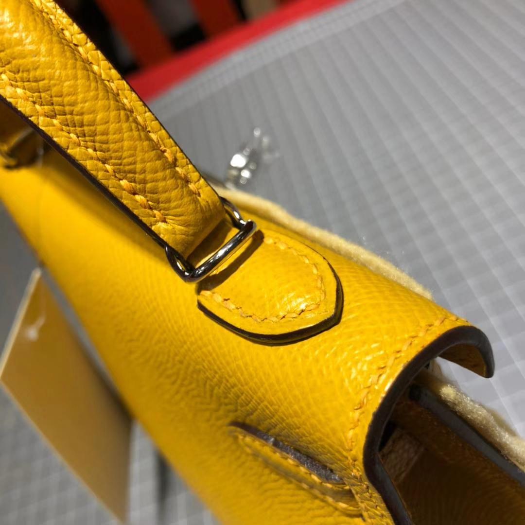 爱马仕包包官网 Hermes Minikelly2代 琥珀黄原厂Epsom牛皮迷你凯莉包2代