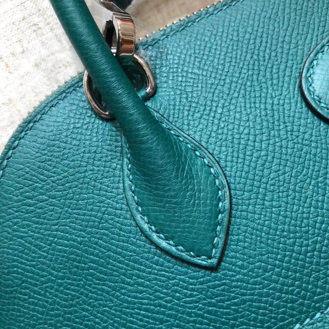 爱马仕保龄球包价格 Hermes Bolide27CM 孔雀绿顶级掌纹牛皮手提女包 银扣