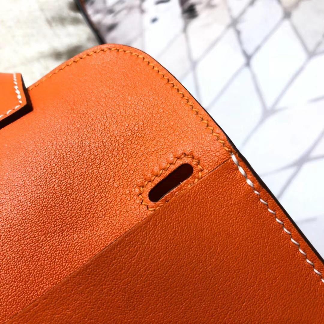 Hermes包包官网 爱马仕Swift平纹牛皮mini Halzan手提包 火焰橙
