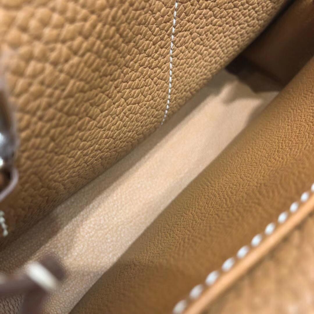 Hermes新款女包 爱马仕土黄色TC牛皮mini Halzan手提包包