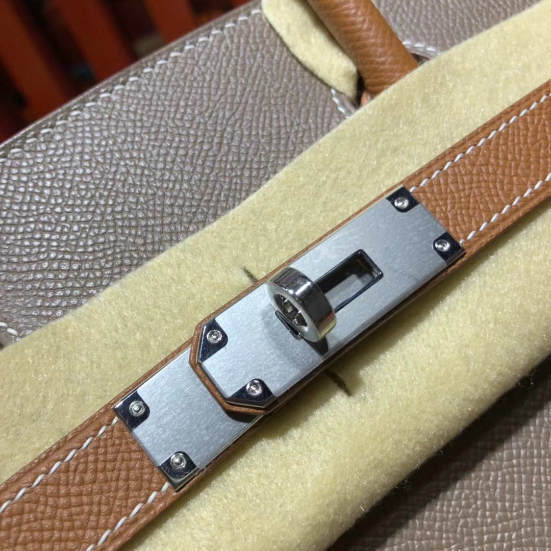 爱马仕Birkin包包 Hermes大象灰拼土黄色拼色铂金包Birkin30CM 银扣