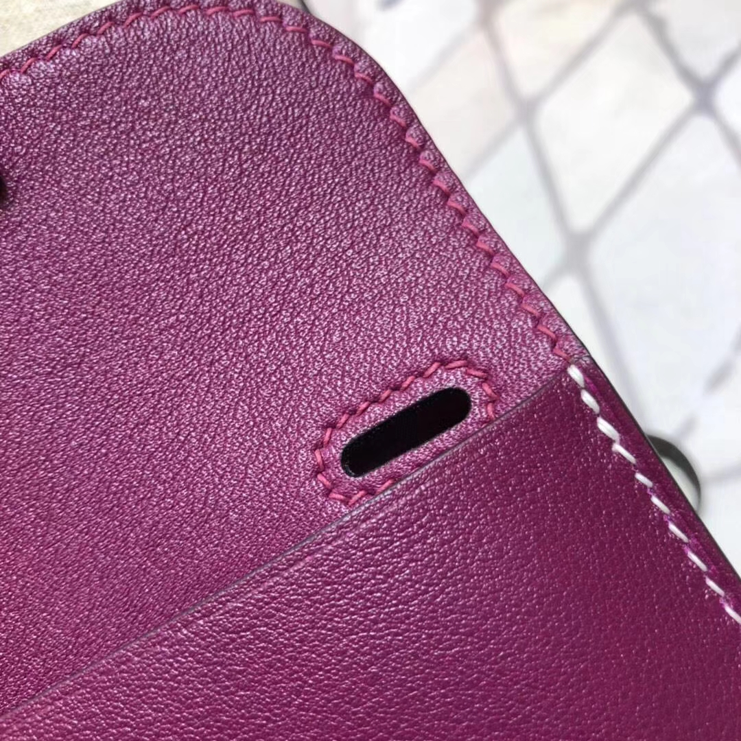 爱马仕包包价格 Hermes mini Halzan 玫紫色Swift牛皮女士手提包