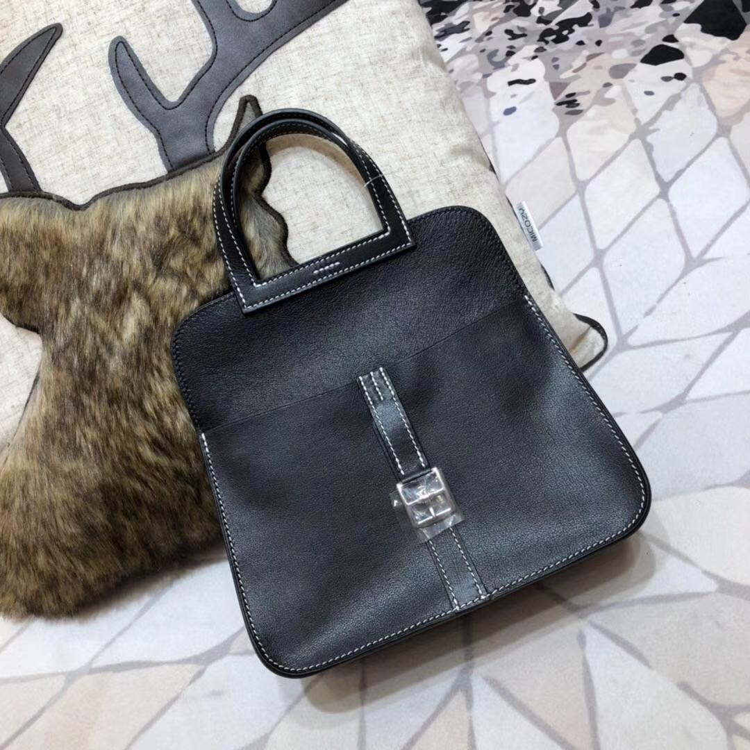 爱马仕包包批发 Hermes黑色Swift平纹mini Halzan手提斜挎两用包包