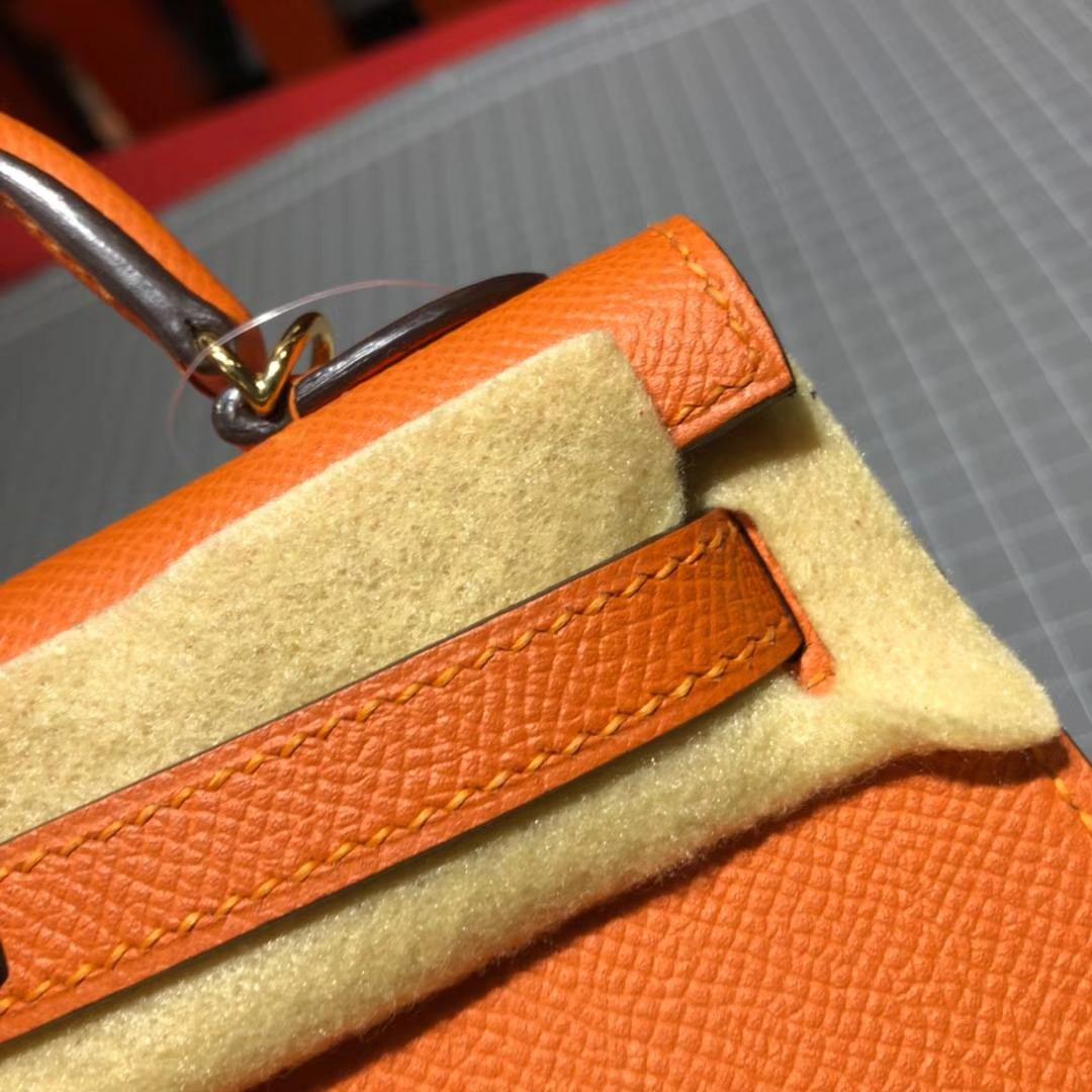 Hermes包包官网 爱马仕橙色原厂掌纹牛皮Minikelly迷你凯莉包2代 金扣