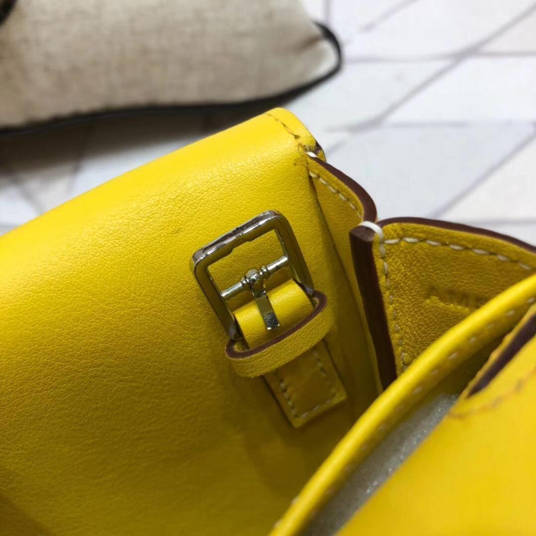 爱马仕新款女包 Hermes亮黄色Swift牛皮mini Halzan手提斜挎包
