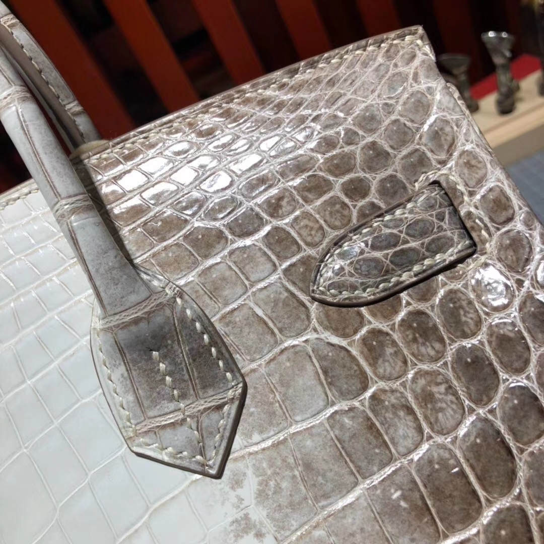 Hermes Birkin30cm 爱马仕喜马拉雅亮光两点鳄鱼皮铂金包 银扣