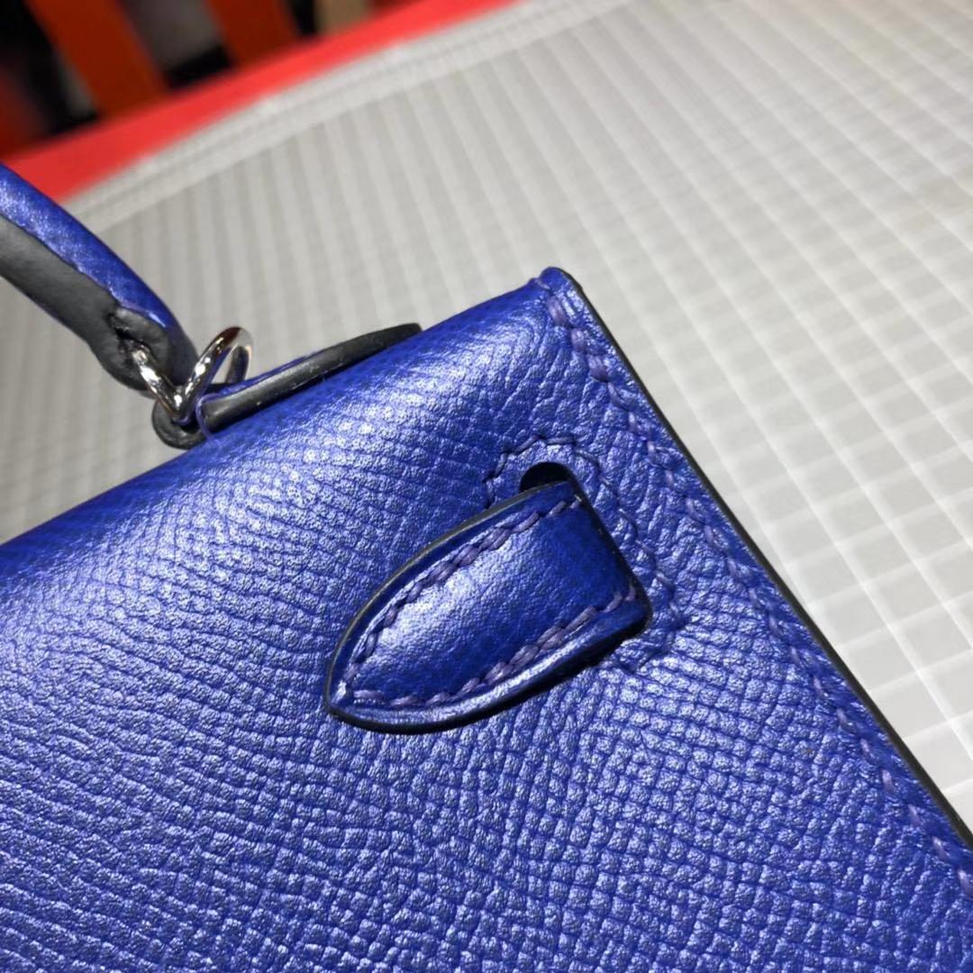 厂家直销 Hermes爱马仕电光蓝原厂掌纹牛皮Minikelly迷你凯莉包2代 银扣