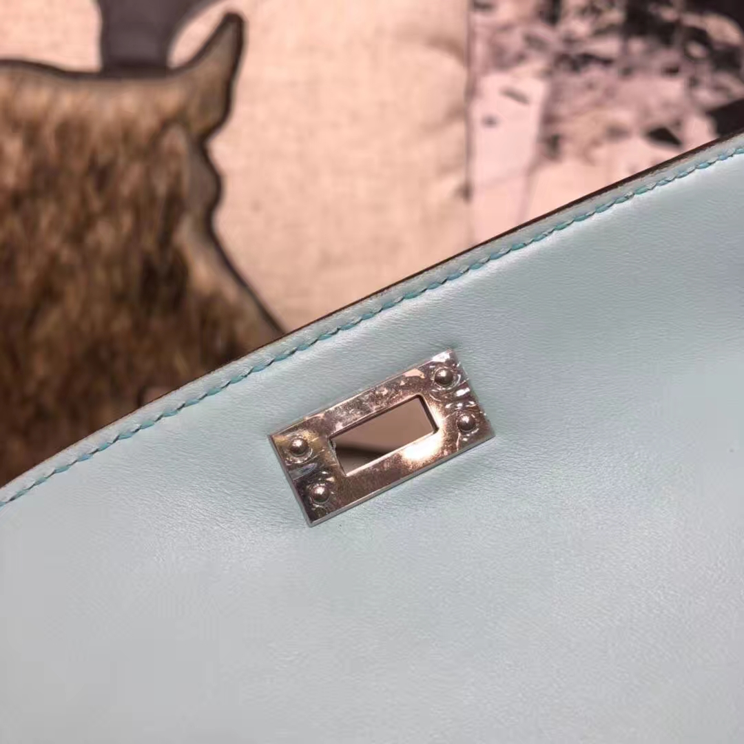 厂家直销 Hermes爱马仕马卡龙蓝原厂Epsom牛皮Minikelly2代迷你凯莉包