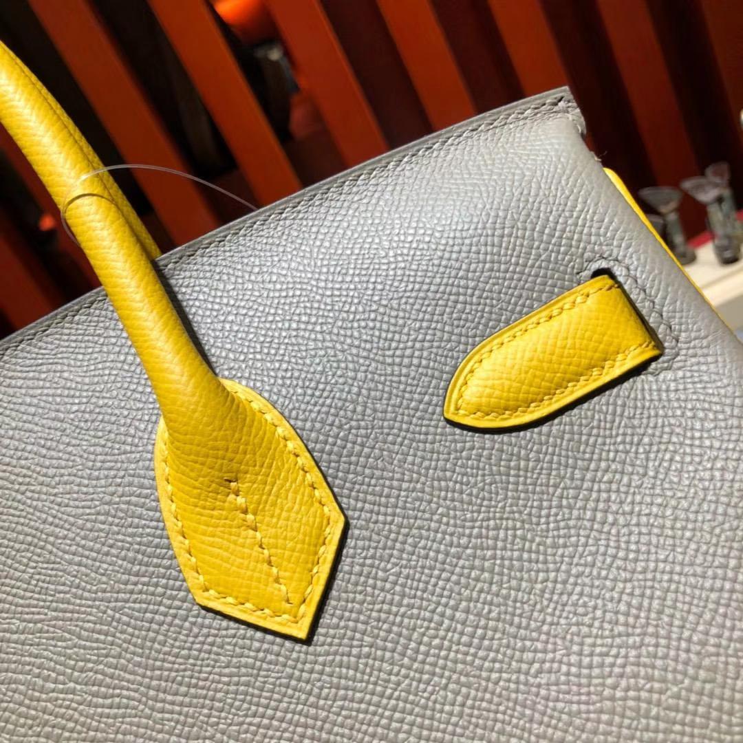 Hermes Birkin30cm 爱马仕沥青灰拼琥珀黄Epsom牛皮铂金包拼色款 金扣