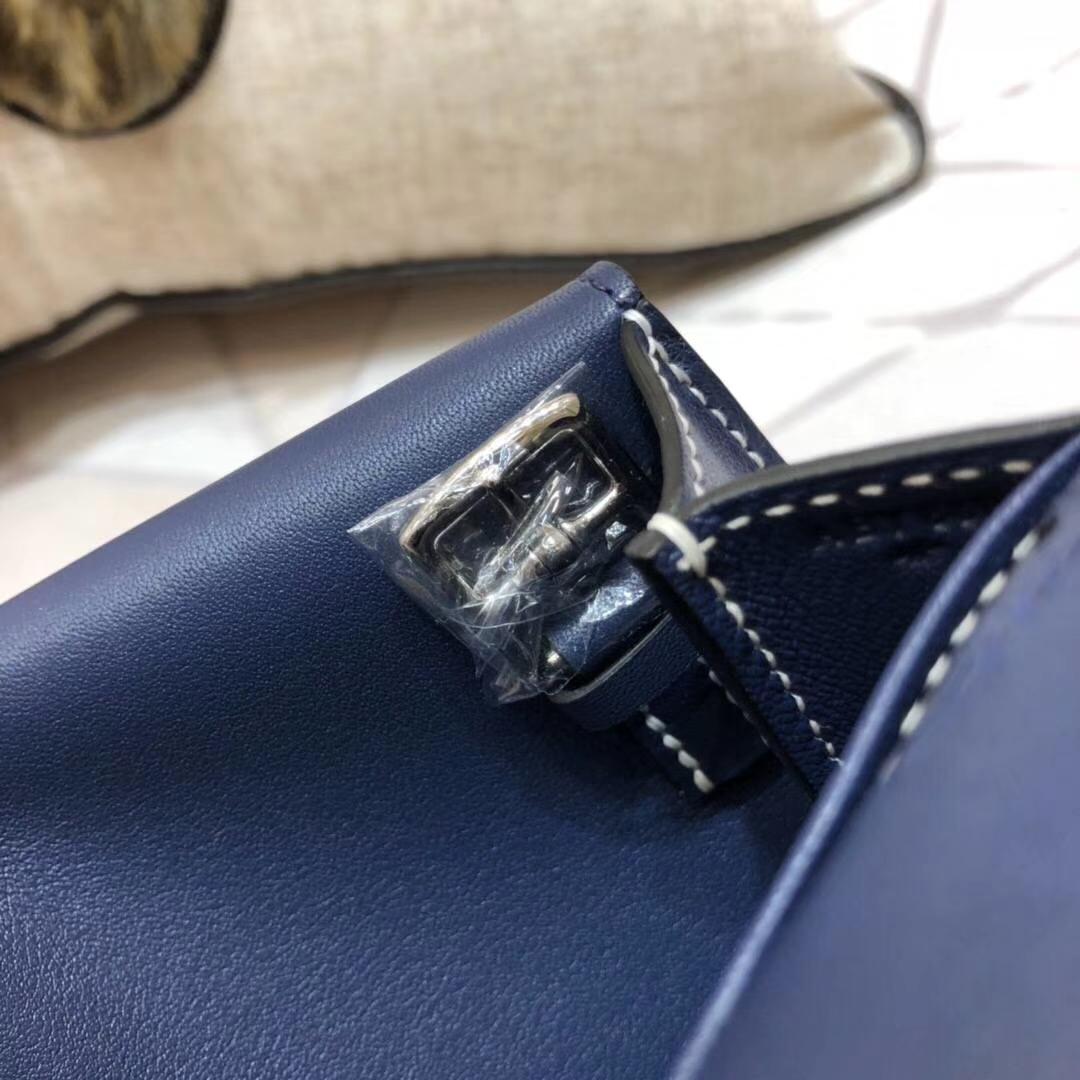 Hermes mini Halzan 爱马仕Swift牛皮斜挎手提包包 宝石蓝