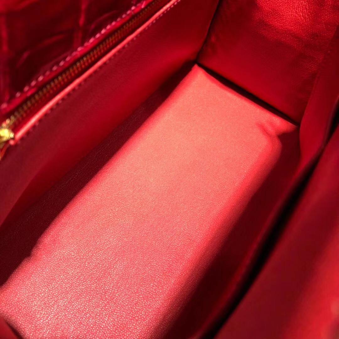厂家直销 Hermes爱马仕中国红亮光尼罗鳄鱼皮Kelly28CM凯莉包 金扣