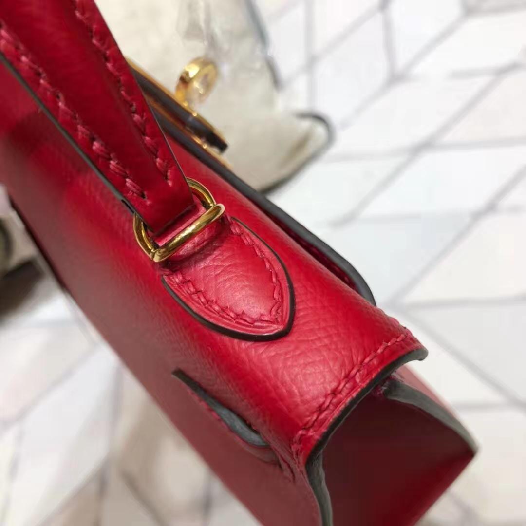 爱马仕晚宴包 Hermes Minikelly2代 中国红原厂掌纹牛皮迷你凯莉包