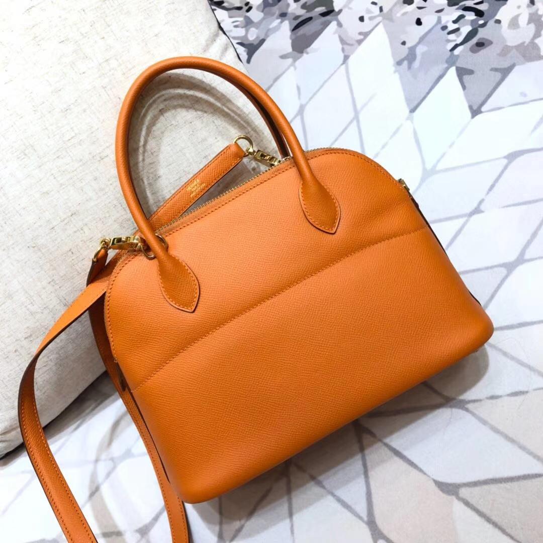 Hermes Bolide27CM 爱马仕橙色顶级Epsom牛皮保龄球包 金扣