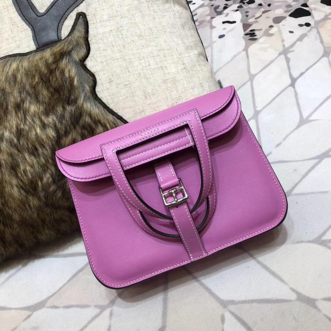 爱马仕新款女包 Hermes mini Halzan 浅紫色Swift牛皮手提斜挎包