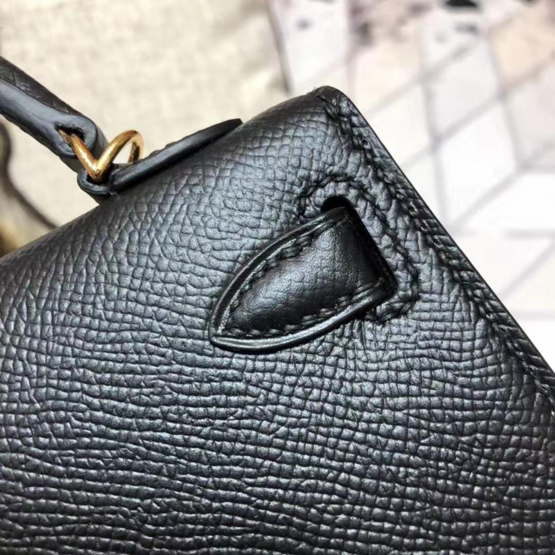 Hermes Minikelly2代 爱马仕黑色原厂Epsom牛皮迷你凯莉包2代手包 金扣