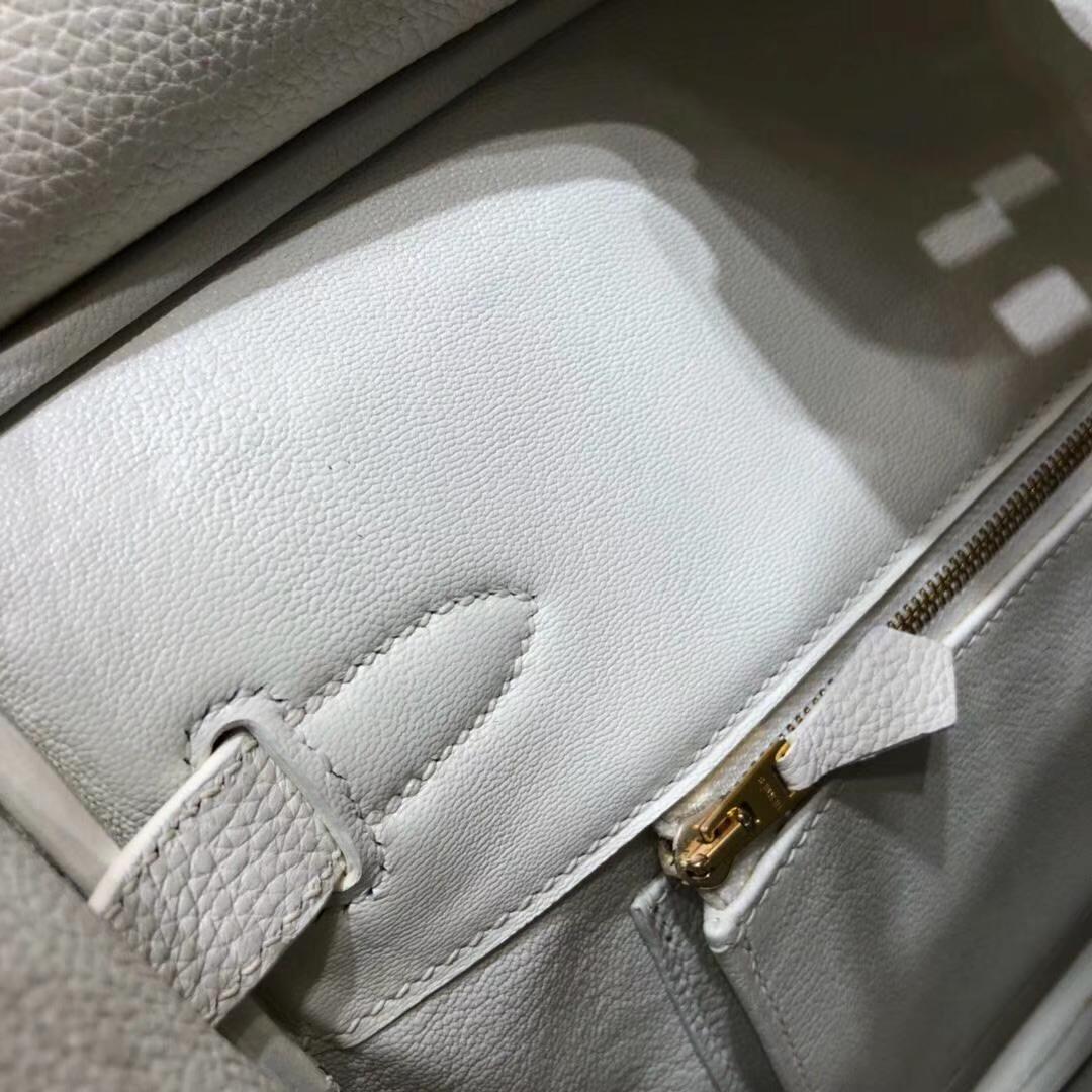 爱马仕拼色铂金包 Hermes纯白拼黑色原厂Togo小牛皮Birkin30CM 银扣