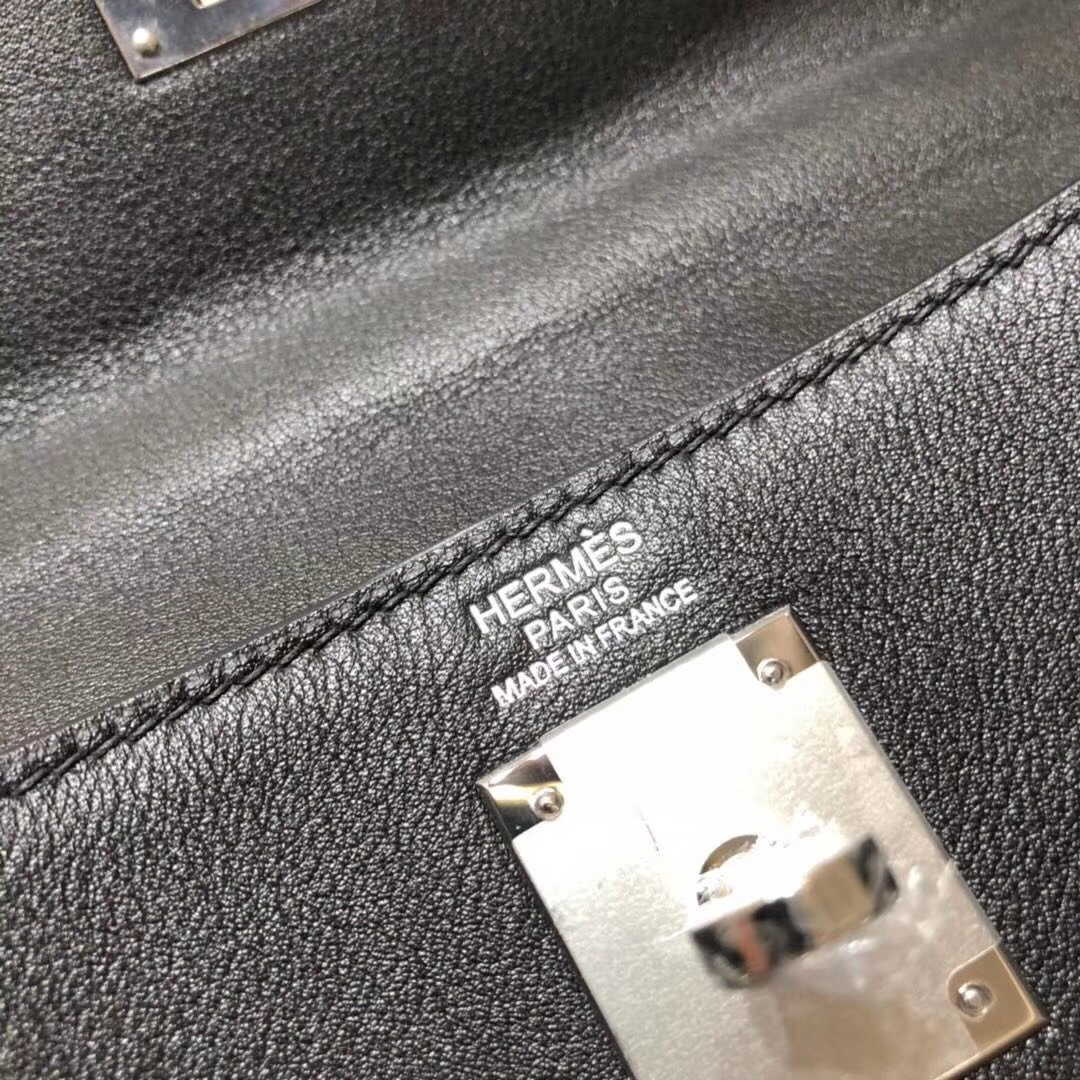 爱马仕凯莉包价格 Hermes原厂Swift牛皮Kelly包包32CM CK89黑色 银扣