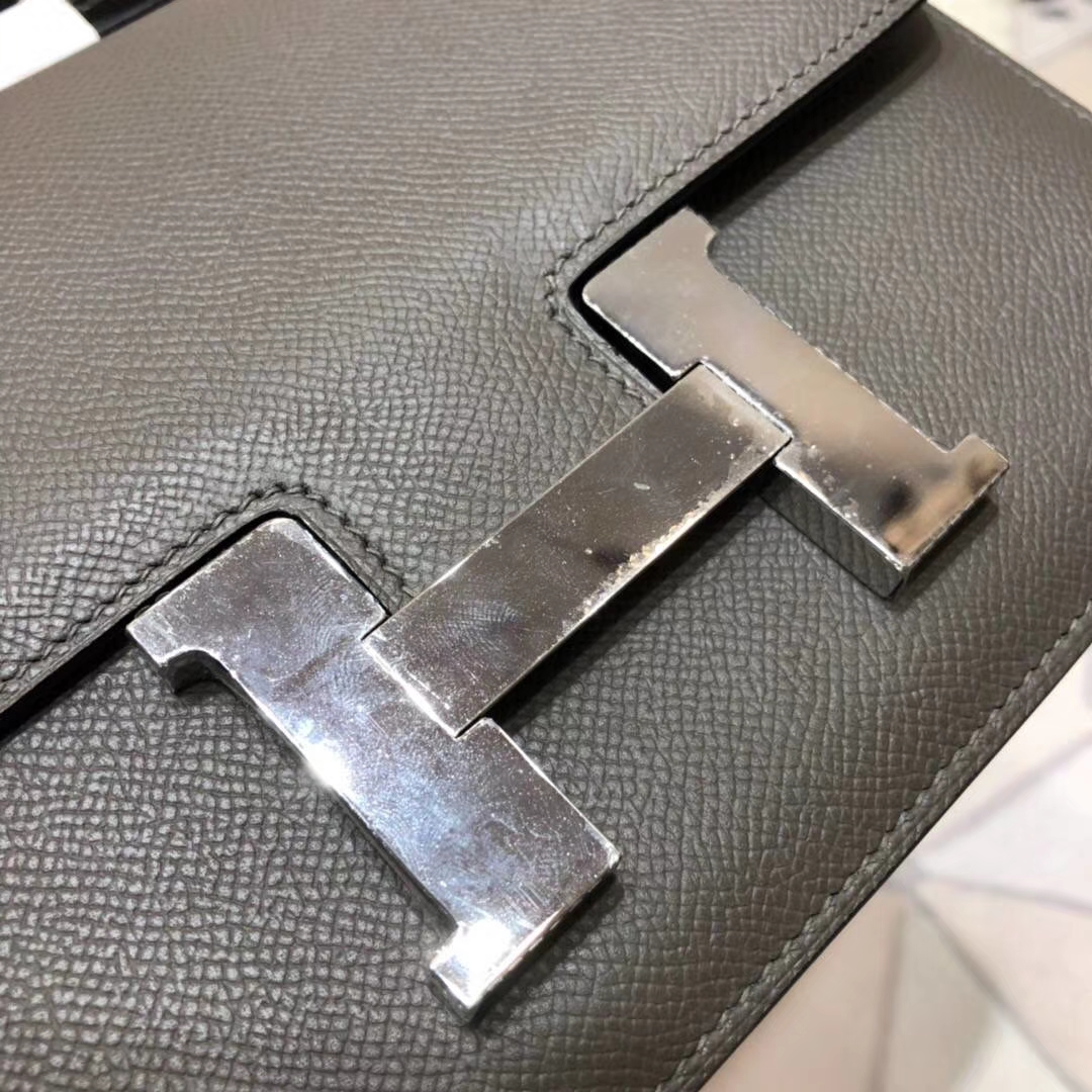 爱马仕空姐包尺寸 Hermes Constance23CM 8F锡器灰Epsom牛皮 银扣